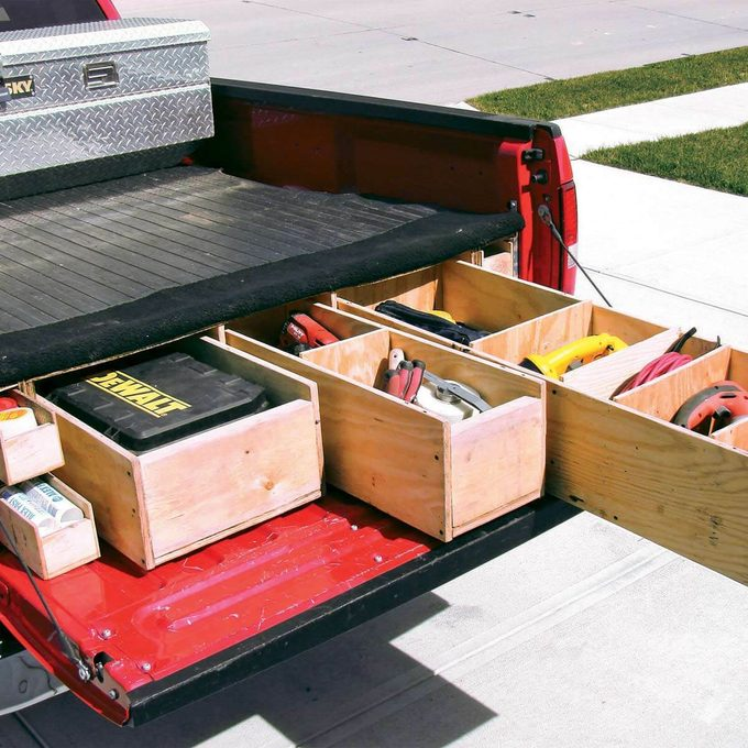 Open tool drawer for truck bed