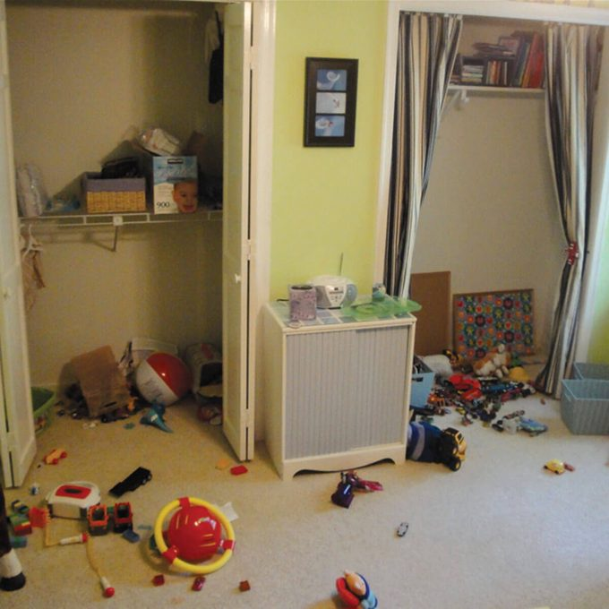 before picture of kids closet