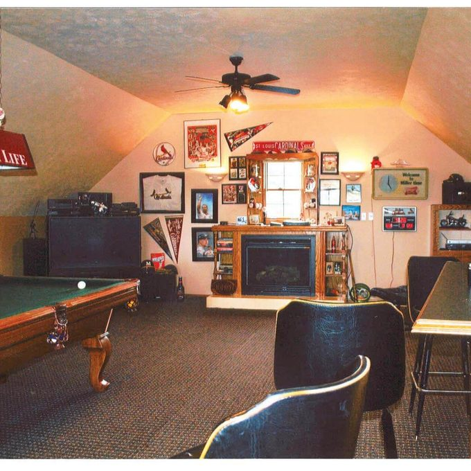 Man cave in attic of a garage