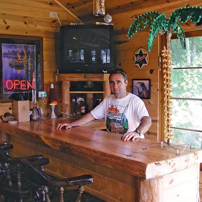 Interior of Man Cave Cabin