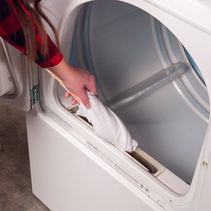 cleaning around lint trap on dryer