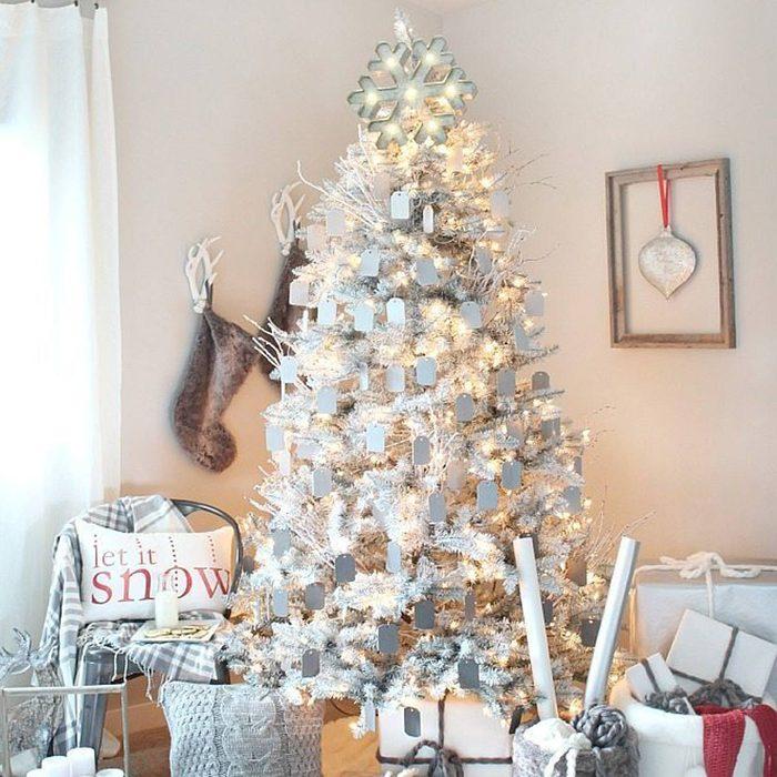 Gray and White Christmas Tree