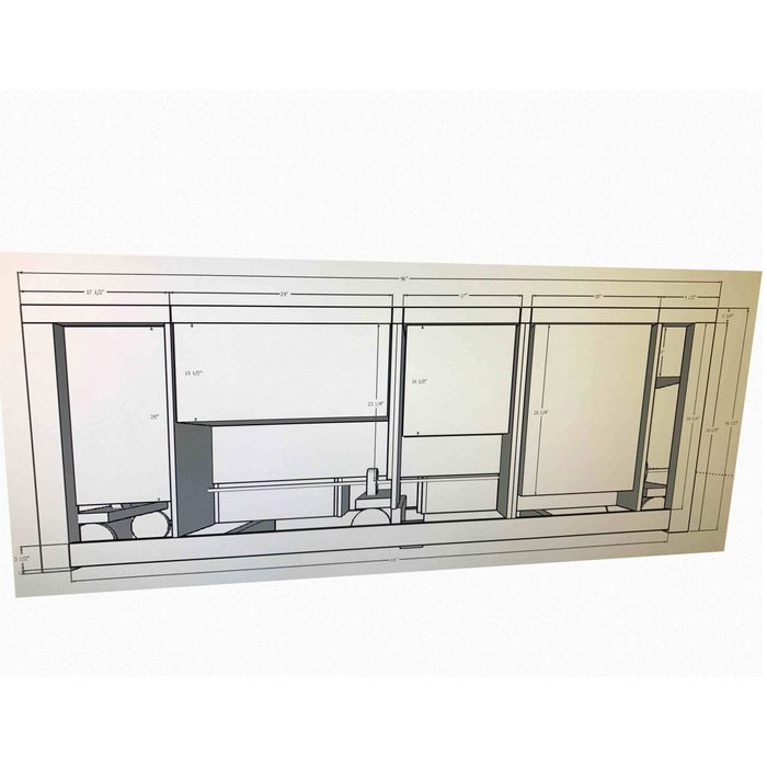 construction drawing of workbench in sketchup