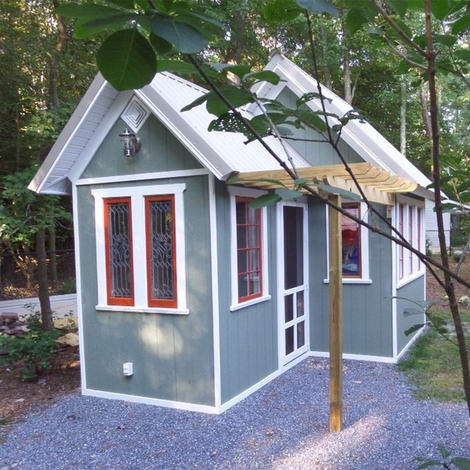 finished garden shed built by reader