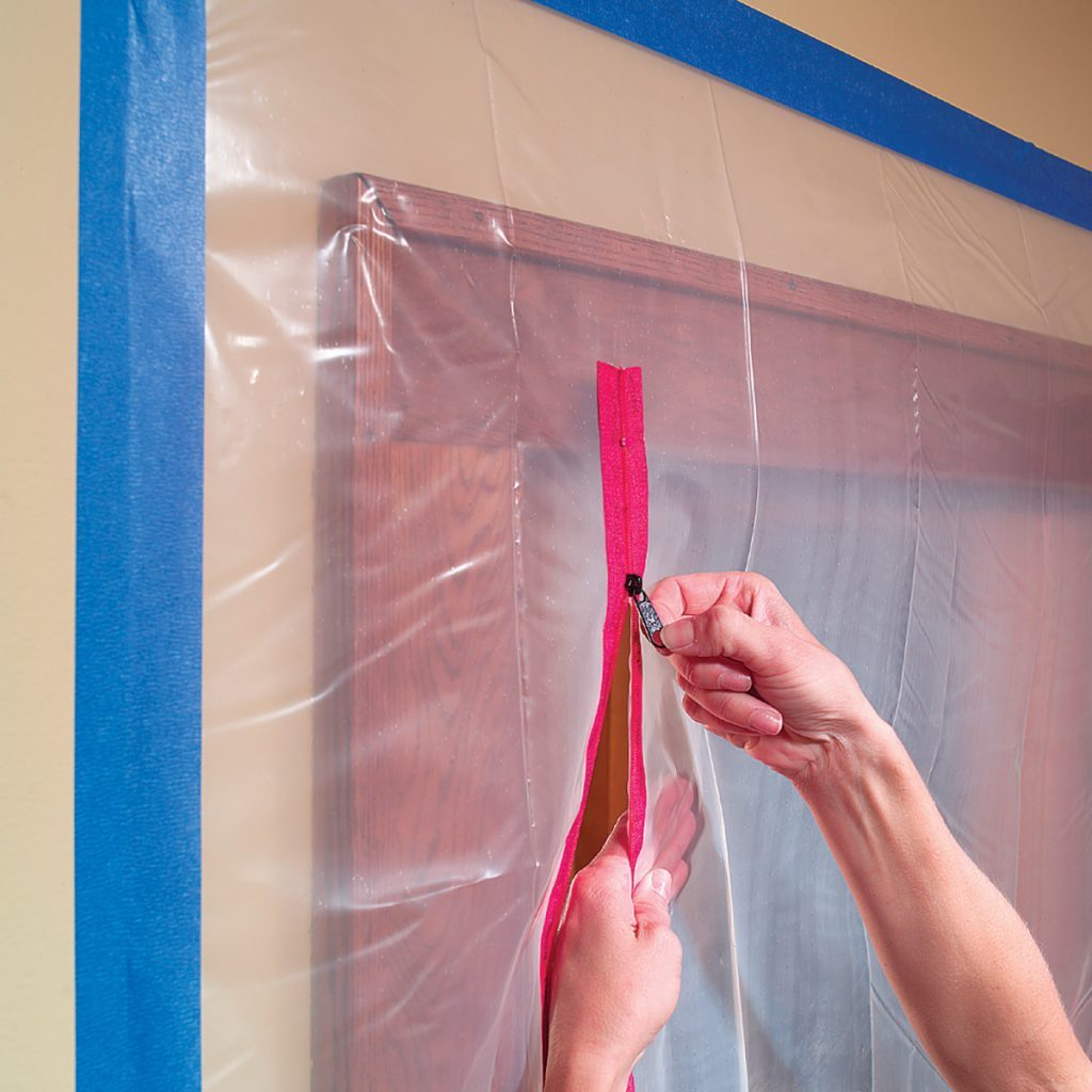 Seal off the room with zippers for poly | Construction Pro Tips