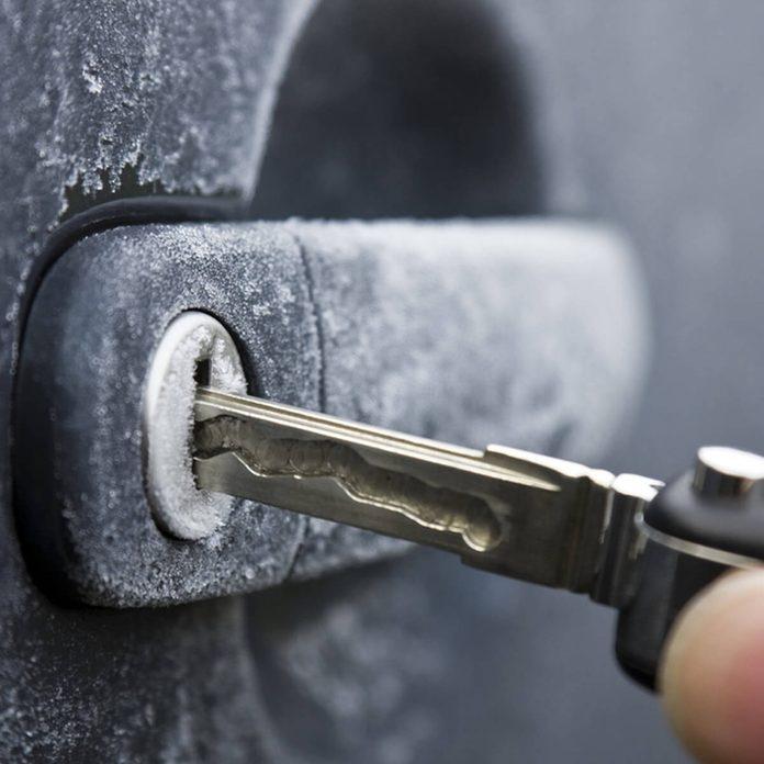 Unlock cold door frozen locks