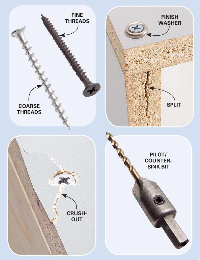 making screws work in melamine