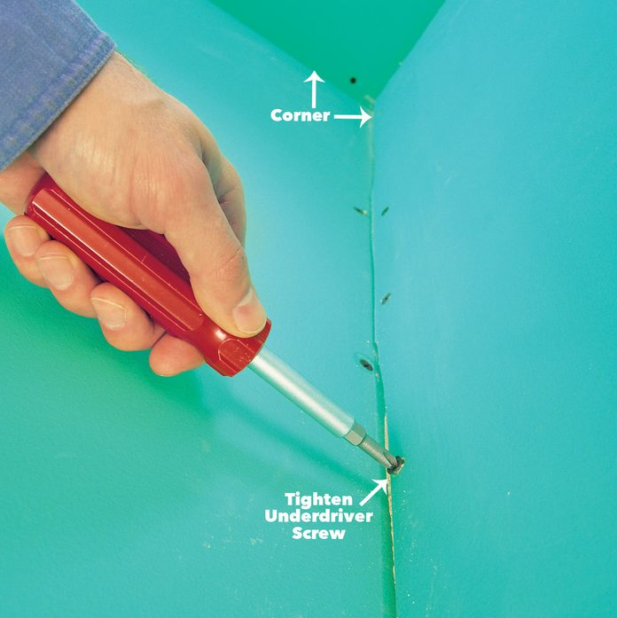 drywall tips Check for underdriven screws and nails