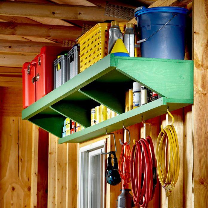 FH15FEB_555_00_031 double decker garage shelves green