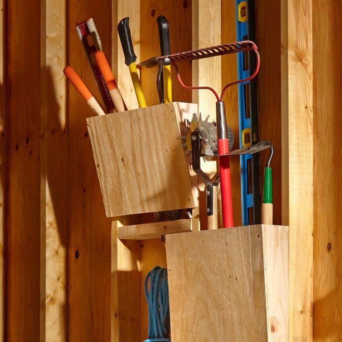 slanted garden rack storage