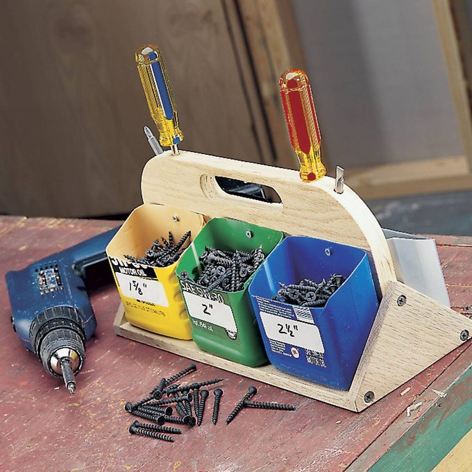 fastener tote with oil cartons