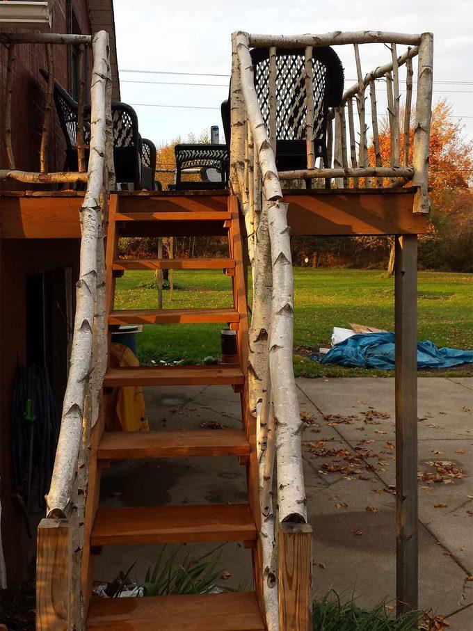 birch deck railing on stairs