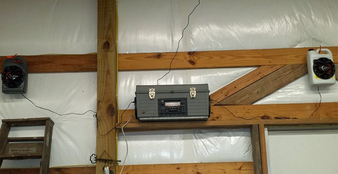 toolbox radio on shelf in shop