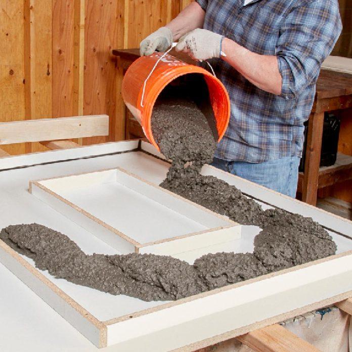filling concrete form