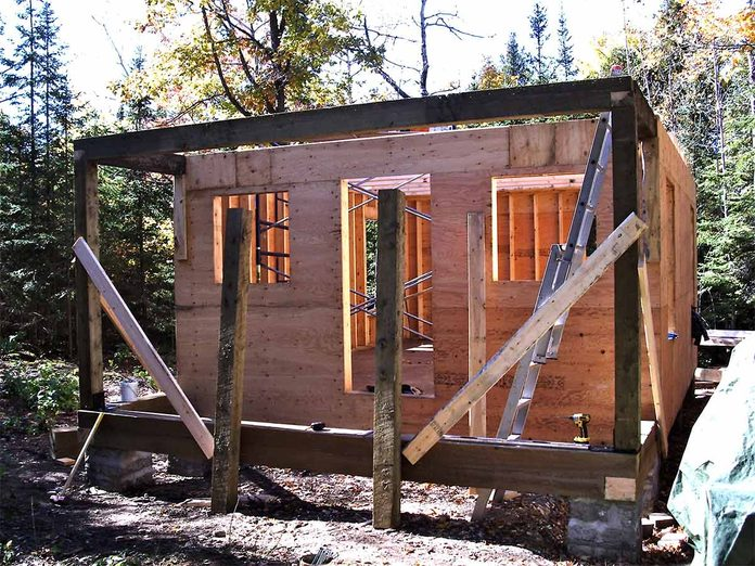 tiny house framed porch and walls