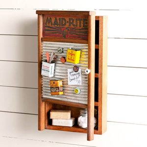 DIY Washboard Memo Station and Cupboard