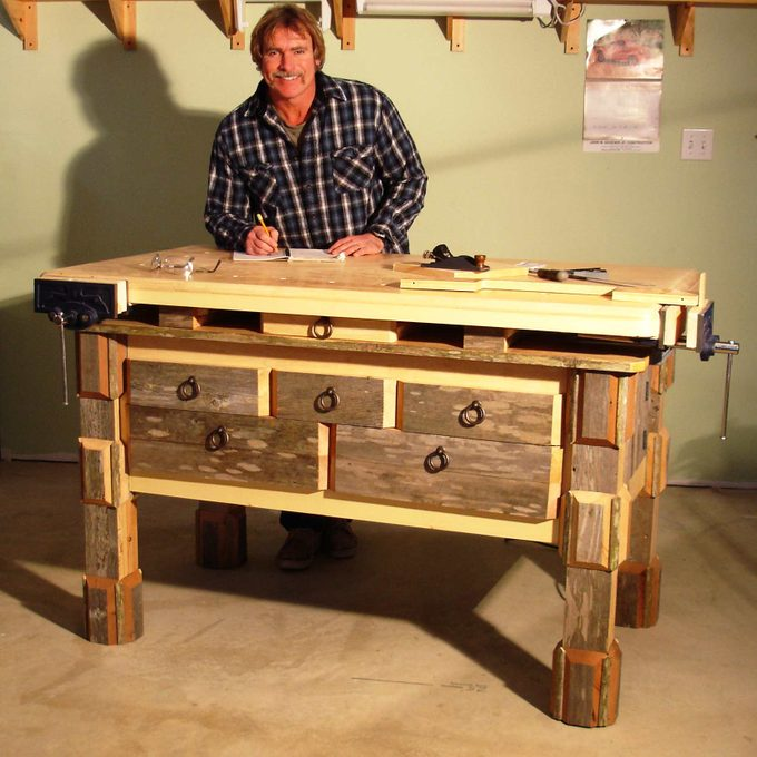 hefty woodworking bench from salvaged material