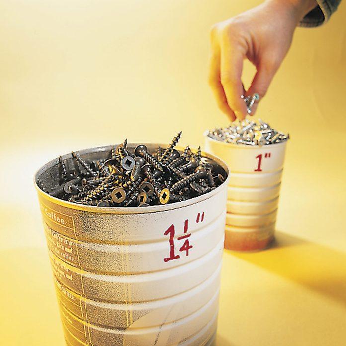easy to read fastener storage buckets