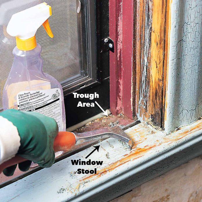 scrape lead paint from window sills