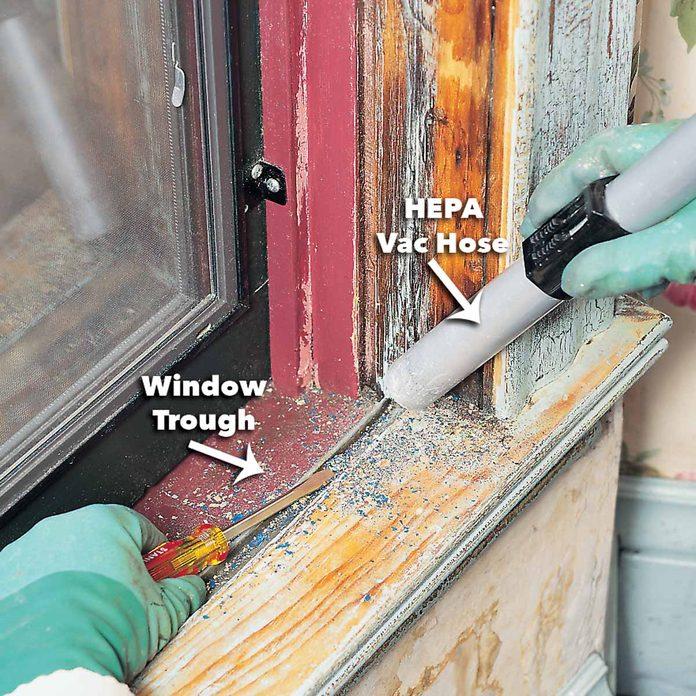 vacuum lead paint scrapes