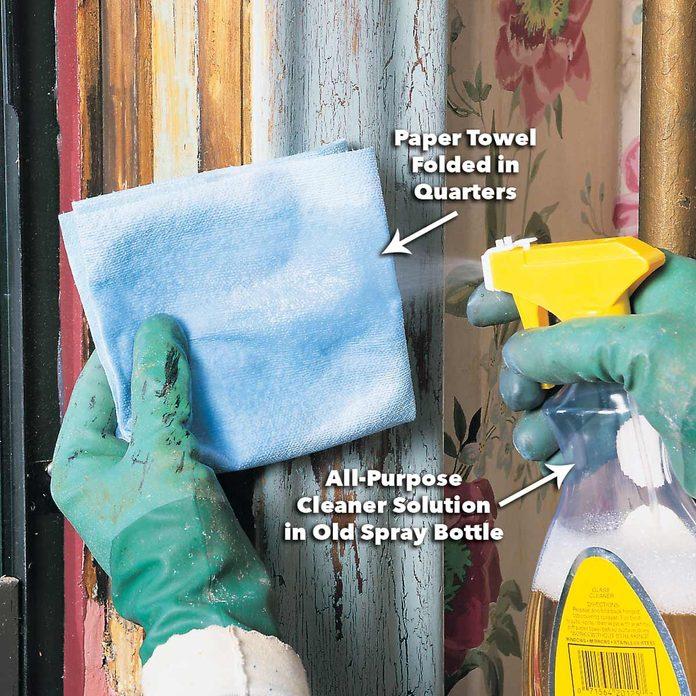 wet down paper towel remove lead paint