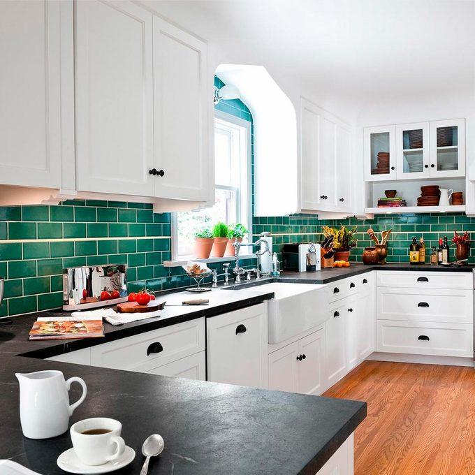 green tile kitchen remodel