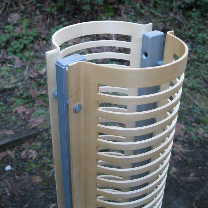 close up of CD rack for blade storage