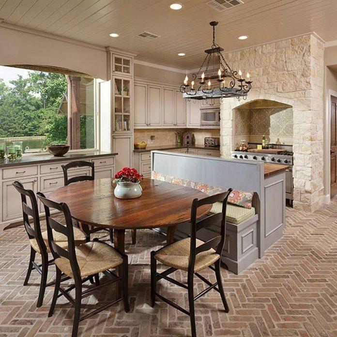 brick floor tile kitchen