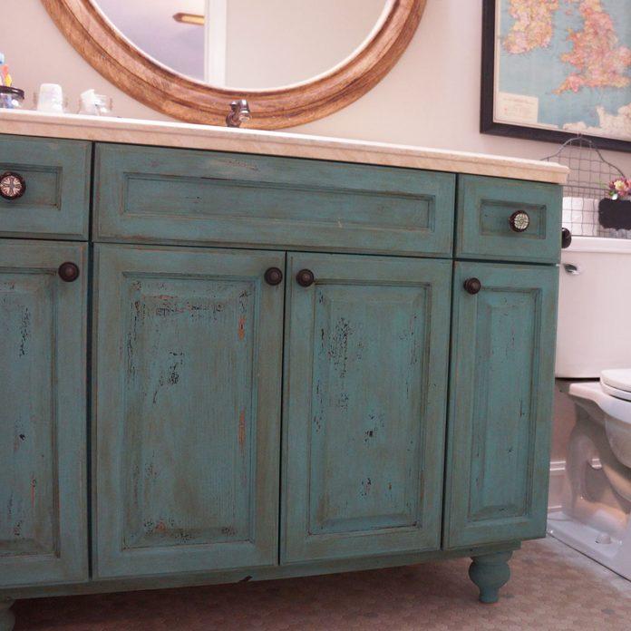 bathroom vanity DIY vanity makeover turquoise