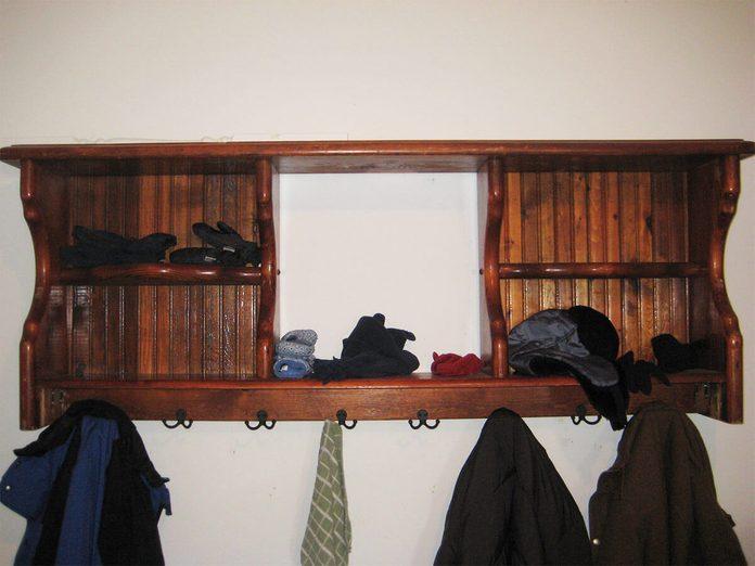 headboard turned into coat rack