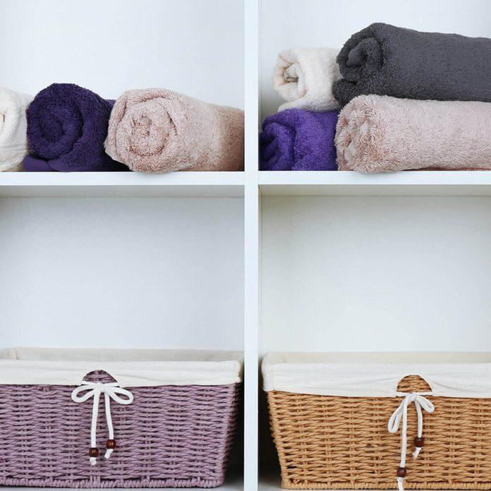 basket bathroom towel storage