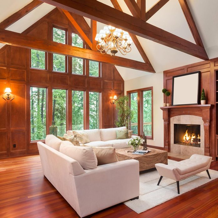 shutterstock_360087827 wood trim living room with vaulted ceiling