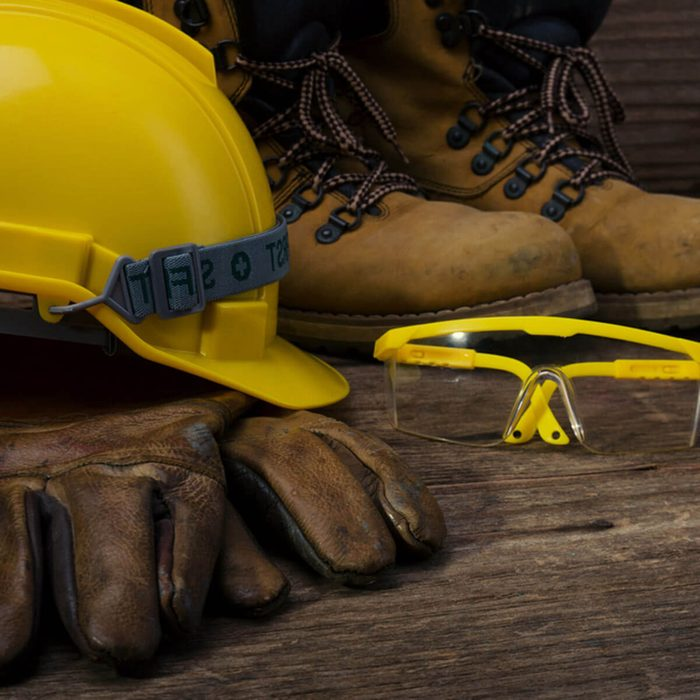protective work gear hard hat safety glasses work boots