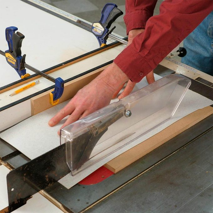 cutting thin material on table saw using jig