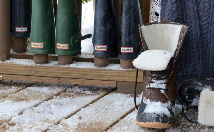 Wooden Boot and Mitten Rack