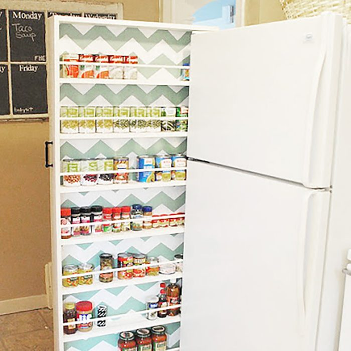 Slide this food organizer right next to your fridge