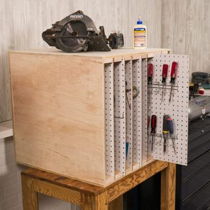 Saturday Morning Workshop: How To Build a Sliding Pegboard Storage System