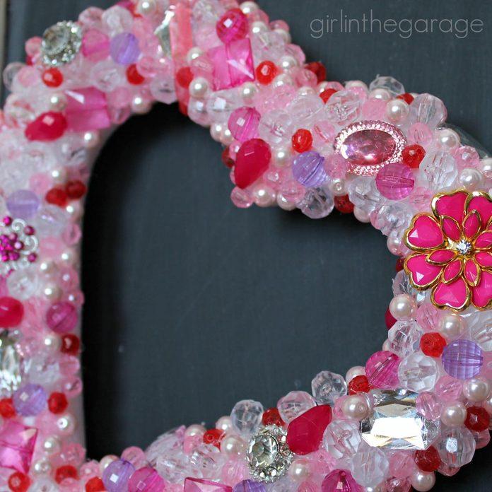 bead heart valentine wreath