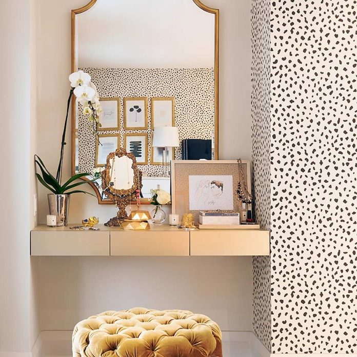 gold accented make-up vanity