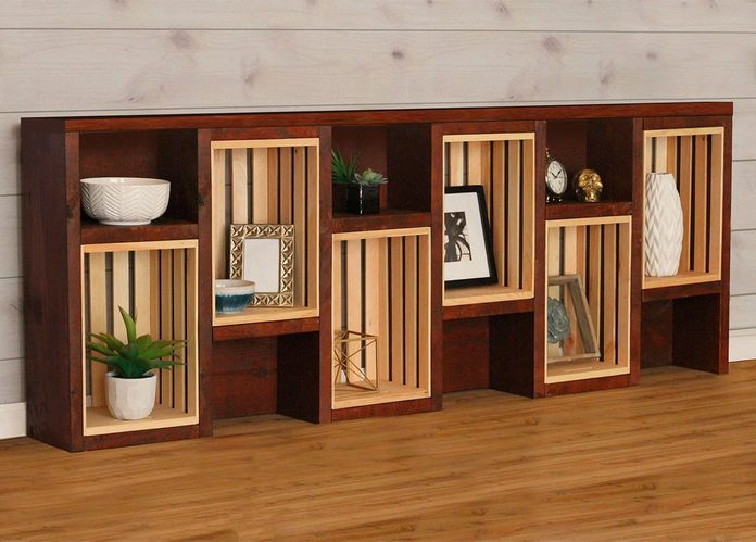 crates and pallet bookcase horizontal console table