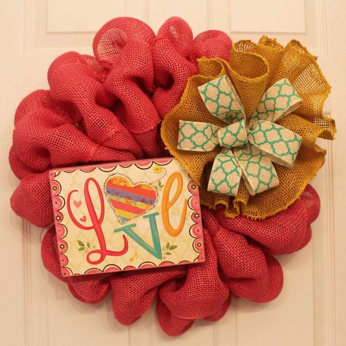 burlap valentine summer wreath