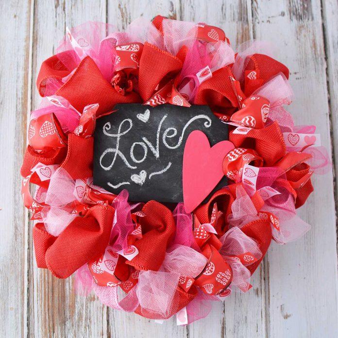 chalkboard valentine wreath