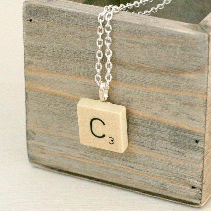scrabble necklace initials