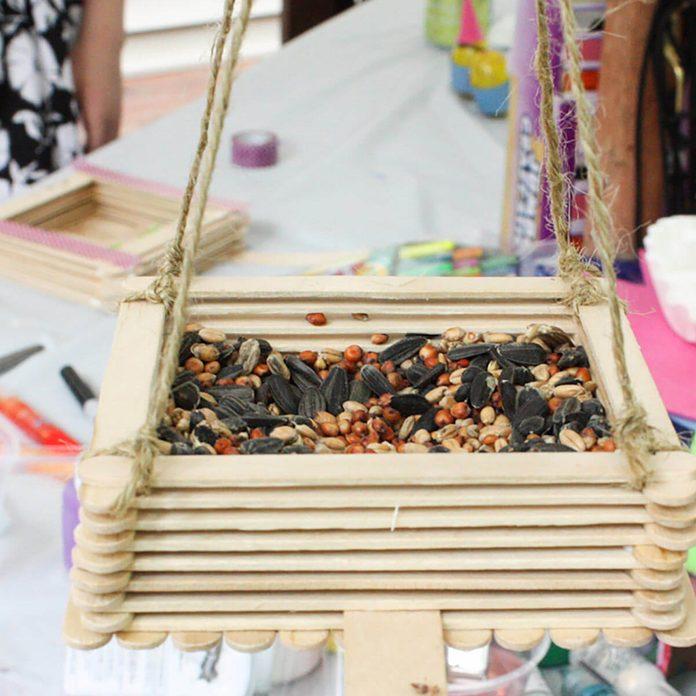 craft popsicle stick bird feeder