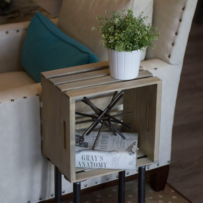close up of finished crate end table