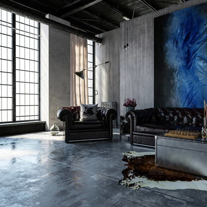 Concrete and Natural Gray Stone living room