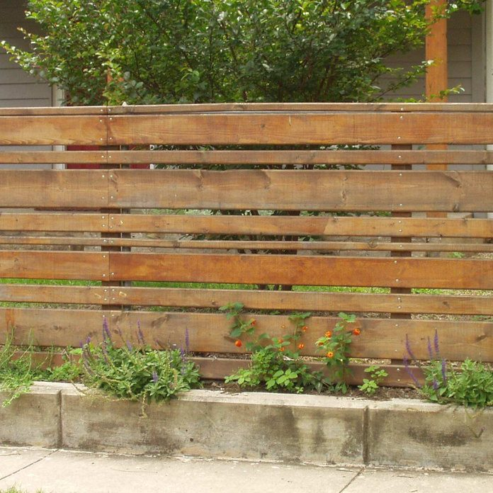 Horizontal Stained Wood Planks Fence