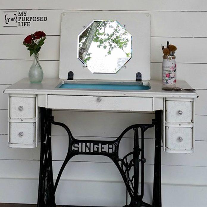 repurposed vintage sewing machine dressing table vanity