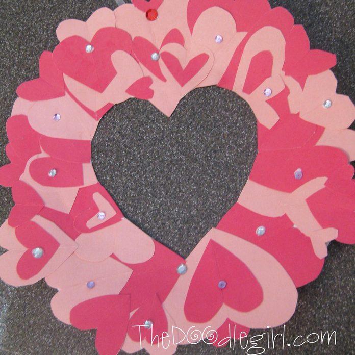 paper heart valentine wreath
