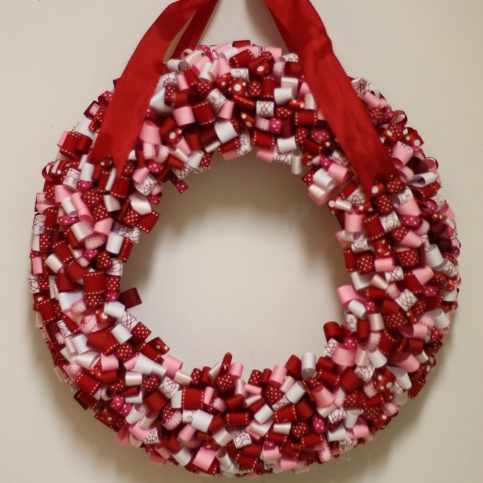 ribbon valentine wreath